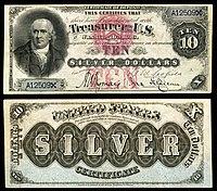Certificado de prata de $ 10, série 1878, Fr.285a, representando Robert Morris