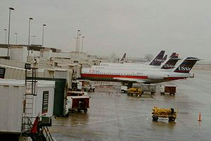 Charlotte Douglas International Airport - US Airways jets at CLT in 1998 in the former USAir livery