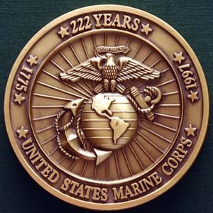 Challenge coin - The front of a U.S. Marine Corps birthday ball medallion.