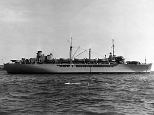 Photo #: NH 61583: USNS General A.W. Greely (T-AP-141) (Squier class transport) Photographed c. the early 1950s. U.S. Naval Historical Center Photograph.