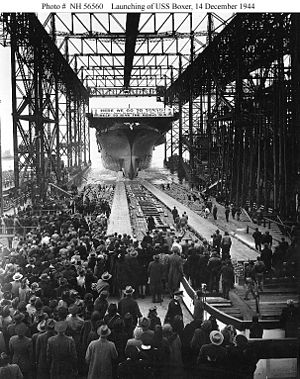 USS Boxer (CV-21) - Boxer is launched, 14 December 1944.