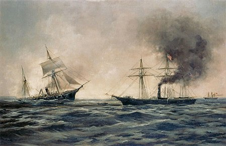 Encounter between USS Kearsarge and CSS Alabama, off the coast of Cherbourg, France, 19 June 1864. USS Kearsarge CSS Alabama.jpg