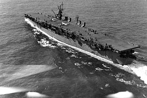 USS Langley (CVL-27) - Image: USS Langley (CVL 27) underway off Cape Henry on 6 October 1943 (80 G 87113)