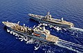 USS Mount Whitney and USNS Leroy Grumman conduct a replenishment-at-sea. (10579585566).jpg