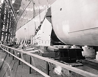 USS Oklahoma (BB-37) - Close up of the hull on launch day