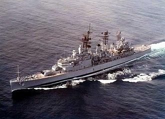 USS Providence (CL-82) - USS Providence (CLG-6) underway in 1970