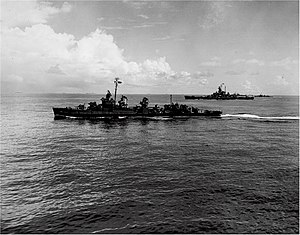 USS Ringgold (DD-500) underway in the Pacific Ocean, circa in July 1945