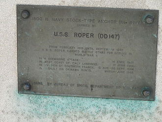 USS Roper (DD-147) - This is the anchor plaque that accompanies the USS Roper's anchor on the MIT campus.