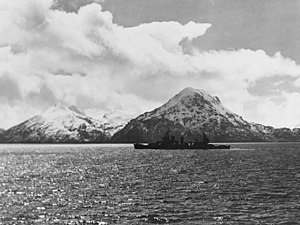 USS San Francisco (CA-38) - San Francisco off Adak Island in April 1945