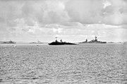USS Saratoga (CV-3) sinking in Bikini Atoll lagoon, 25 July 1946 (520999)