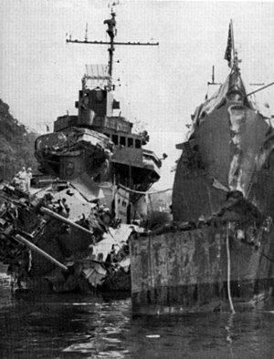 USS O'Bannon (DD-450) - Image: USS Selfridge and O Bannon damaged Oct 1943