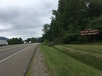 U.S. Route 6 in Pennsylvania - US 6 westbound entering Potter County