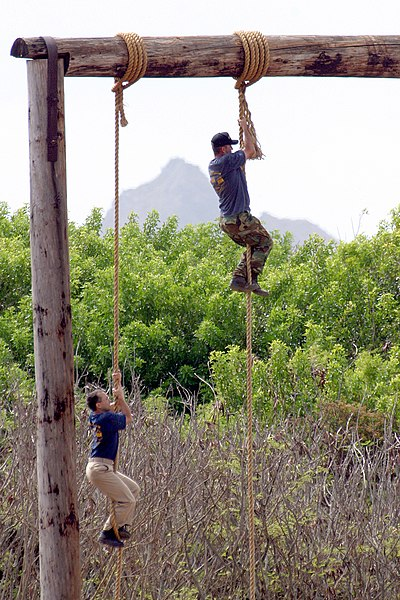File:US Navy 030822-N-3228G-011 A chief petty officer selectee climbs a 50-foot rope on the confidence.jpg