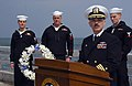 US Navy 050415-N-6997B-004 Commanding Officer, Naval Security Group Activity Command Misawa, Japan, Cmdr. Jim Brokaw, speaks to guest during a ceremony to remember their fallen shipmates.jpg