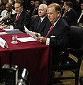 US Navy 061205-D-7203T-002 From right, Sen. David Boren, Secretary of Defense nominee Robert Gates, and Sen. Bob Dole prepare for the start of a Senate Armed Services Committee hearing (cropped1).jpg