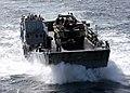 US Navy 070407-N-0318R-011 A Landing Craft Utility (LCU) attached to the amphibious transport dock USS Shreveport (LPD 12) transports a Lighter Amphibious Re-supply Cargo (LARC) vehicle to the amphibious assault ship USS Bataan.jpg
