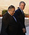 US Navy 081214-N-5608F-006 U.S. President George W. Bush walks with Iraqi President Jalal Talabani into Salam Palace.jpg