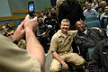 US Navy 090429-N-9818V-104 Master Chief Petty Officer of the Navy (MCPON) Rick West poses for a photo with a Sailor before an all-hands call at the Briefing Theater at Naval Station Everett.jpg