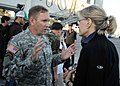 US Navy 100115-N-6070S-156 t. Gen. P.K. Keen, deputy commander of U.S. Southern Command, talks about humanitarian aid distribution with Diane Sawyer of.jpg