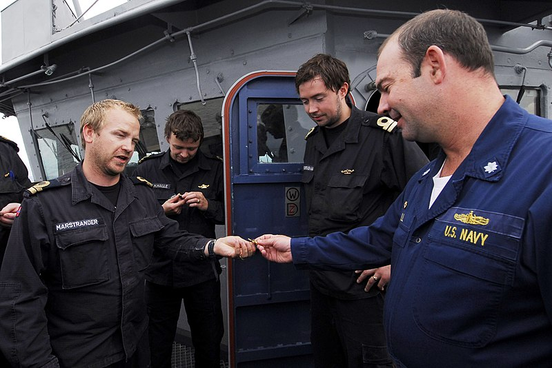 File:US Navy 100823-N-7638K-125 Cmdr. Lyle Hall accepts a set of golden dolphins from sailors of the Norwegian submarine HNoMS Ula (S 300) as a token of appreciation for their guided tour.jpg