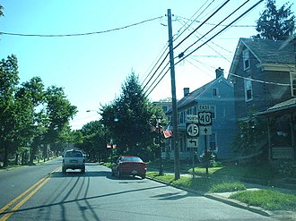 U.S. Route 40 in New Jersey - US 40 eastbound approaching split with Route 45 in Woodstown
