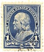 Benjamin Franklin, 1¢, blue
