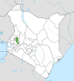 Location of Uasin Gishu County (Green)