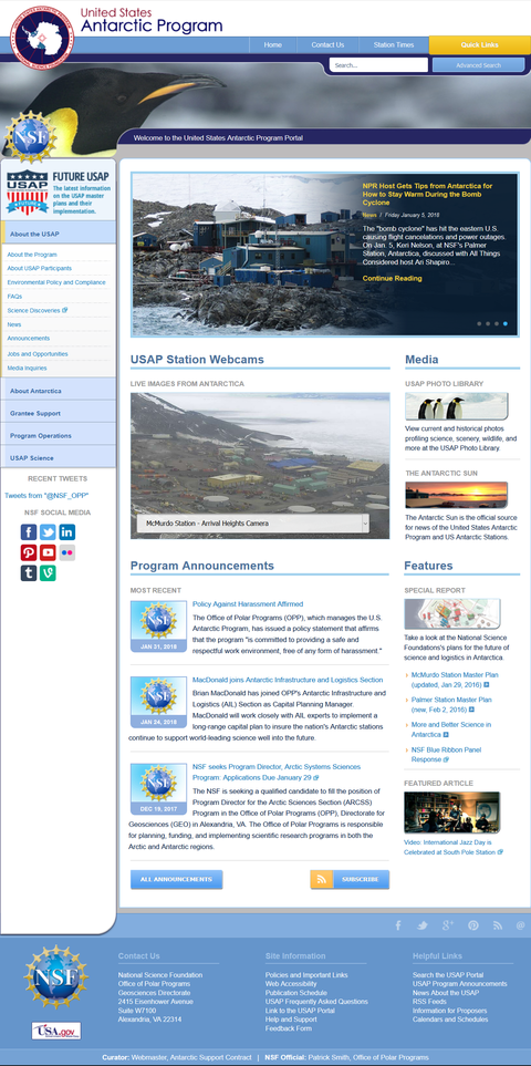 The usap.gov website United States Antarctic Program website from 2018 02 22.png
