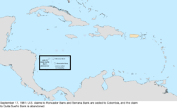 Map of the change to the United States in the Caribbean Sea on September 17, 1981