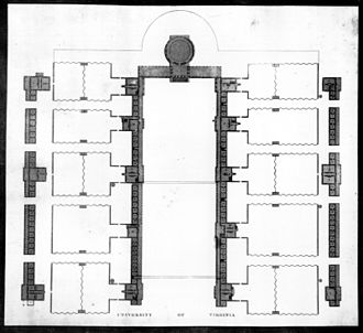 The Lawn - Engraving by Peter Maverick of the plan of the University of Virginia, after Jefferson's drawing, 1826.