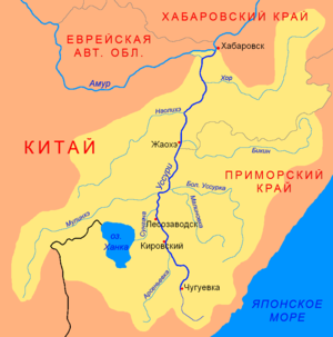 Bikin National Park - The Bikin River flows west across the middle of the Sikhote-Alin