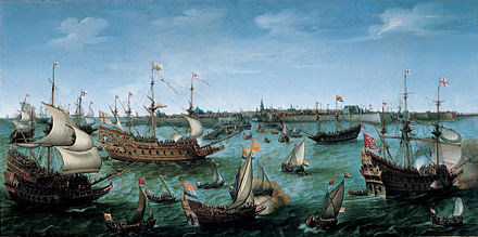 The Arrival at Vlissingen of Frederick V, Elector Palatine, by Hendrick Cornelisz Vroom, oil on canvas. VROOM Hendrick Cornelisz The Arrival at Vlissingen of the Elector Palatinate Frederick V.jpg