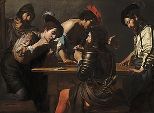 Valentin de Boulogne - Soldiers Playing Cards and Dice (The Cheats), c. 1618–1620, by Valentin de Boulogne.