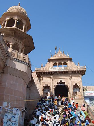 Mathura district - Temple in Barsana, near Mathura, dedicated to the worship of Radha and Krishna. Being the birthplace of Lord Krishna, Mathura is an important Hindu pilgrimage site.