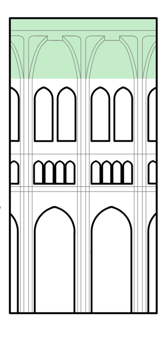 Interior elevation view of a Gothic cathedral, with rib-vaulted roof highlighted Vault diagram.png