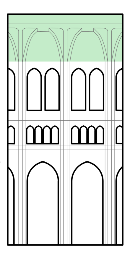 Interior elevation view of a Gothic cathedral, with rib-vaulted roof highlighted