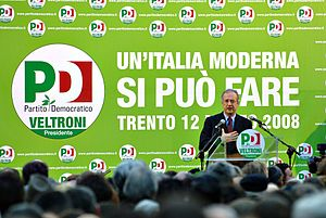 Italian general election, 2008 - Walter Veltroni in Trento during the electoral campaign.