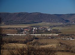 The village of Jezernice with its dominant landmark - the viaduct on the Emperor Ferdinand Northern Railway