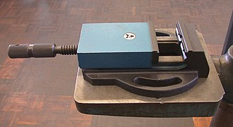 Vise - A small machine vise used in a drill press