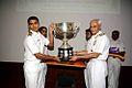Vice Admiral Sunil Lanba awards Lieutenant Commander Sarang Joshi the 2015 Admiral GM Hiranandani Memorial Rolling Trophy.jpg
