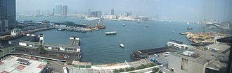 Central and Wan Chai Reclamation - Victoria Harbour as of 2005-10-14, viewed from City Hall, Central. Note that Central Reclamation Phase 3 has just started.