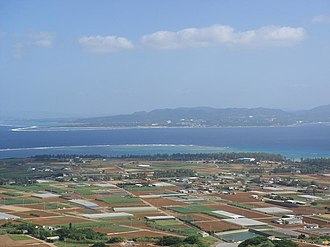 Iejima - View from the 172 meter Mount Gusuku mountain on the island