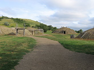 Bismarck, North Dakota - Partially rebuilt Mandan Village On-a-Slant, in Fort Abraham Lincoln State Park outside Bismarck