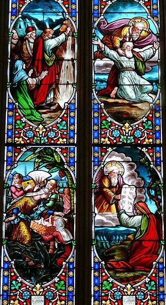 Fichier:Villeréal - Eglise - Vitrail Histoire de Moïse.jpg