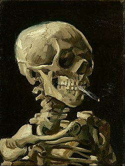 A skeleton, turned 45 degrees to the right and rendered only from shoulders and above. The skull clenches a lit cigarette between its teeth. The painting is rendered in somber tones of ivory, brown, and black, in thick yet detailed brushstrokes that reveal the texture of the canvas in places.