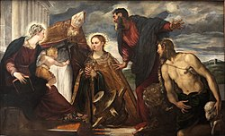 Virgin with Child with Saint Catherine Augustin Marc and John the Baptist-Tintoretto-MBA Lyon A122-IMG 0309.jpg