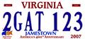 Virginia 2GAT123 sample license plate 2007.png