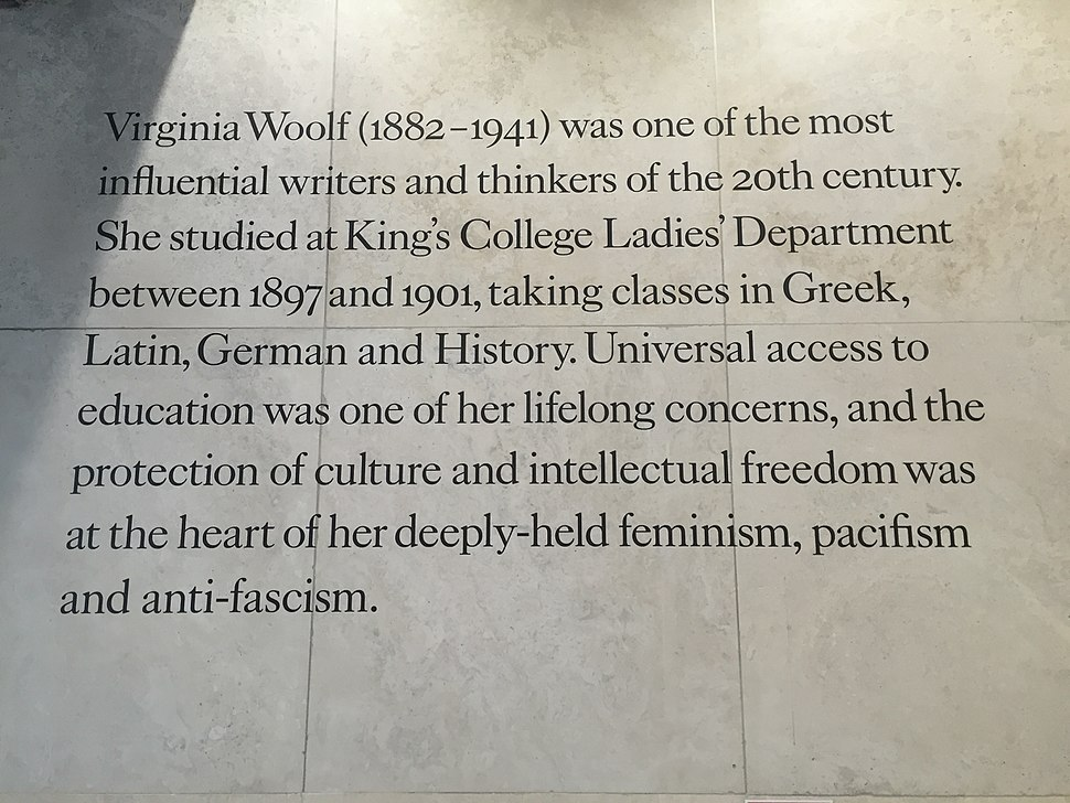 Plaque describing Virginia's time at King's College, on the Virginia Woolf Buildiong there