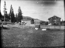 Vivallen 1913. Den stora gravgruppen påträffades framför det lilla huset med torvtak och vidare åt höger mot boningshuset. Bilden är tagen av Gustaf Hallström i samband med utgrävningarna.