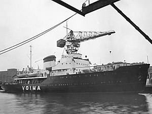 Voima (1952 icebreaker) - Voima shortly before delivery at Wärtsilä Hietalahti shipyard
